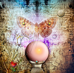 Photo sur Plexiglas Imagination Crystal ball and soul moth