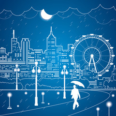 Vector lines night city, the rain, vector art