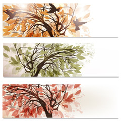 Wall Mural - Brochure vector set in floral style with abstract trees