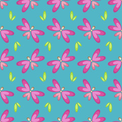 Seamless abstract pattern of butterflies in the grass