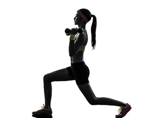 Wall Mural - woman exercising fitness workout  weight training silhouette
