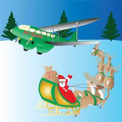 Santas Sleigh travelling to vintage plane
