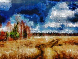 Digital structure of painting. Autumn field