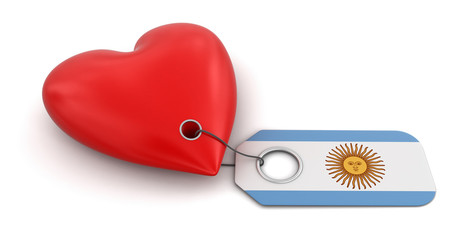 Heart with Argentina flag (clipping path included)