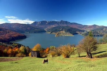 fall autumn landscape mountain and lake