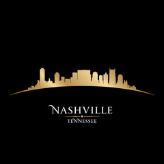 Wall Mural - Nashville Tennessee city skyline silhouette black background