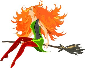 Beautiful redheaded witch sitting on broom