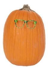 Funky pumpkin with green glasses fun and funny