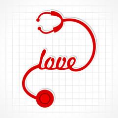 Stethoscope make love word stock vector
