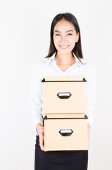 Women holding box