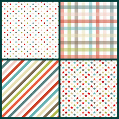 Collection 4 Seamless Pattern Birthday Retro Color