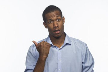 African American man pointing to side, horizontal