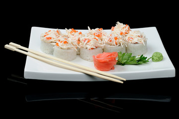 Rolls with red caviar and crab