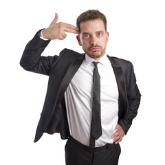 Business man doing a gun gesture