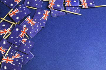 Australian toothpick flags background with copy space.