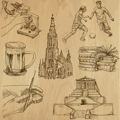 traveling Germany - hand drawings into vector set 1