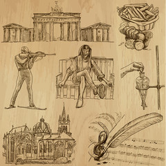 traveling Germany - hand drawings into vector set 2