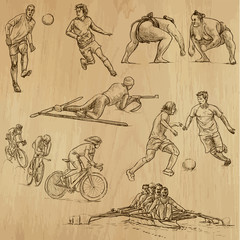 sporting events - hand drawings into vector set 3