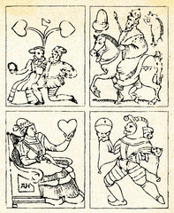 Playing cards of German peasants (16. century)