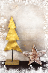 Winterly Christmas decoration over vintage background