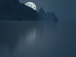 Poster Full moon Moon behind mountains