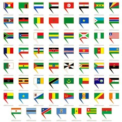 Badges with flags of Africa