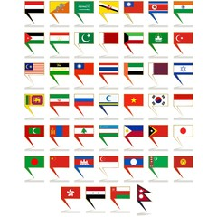 Icons to flags of Asia