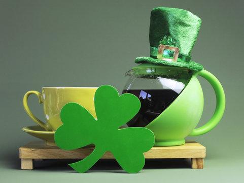 St Patrick's Day breakfast tea coffee with leprechaun hat