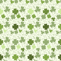 Seamless clover pattern, vector background for St. Patrick's Day