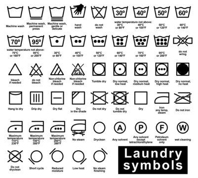 Icon set of laundry symbols