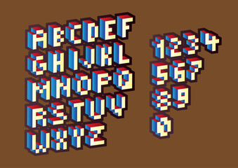3D pixel alphabet letters and numbers - illustration