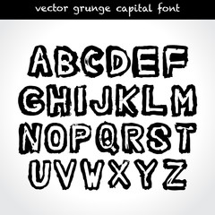 Grunge type capital font. Vector.
