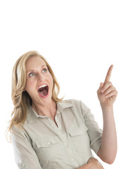 Surprised Woman With Mouth Open Gesturing