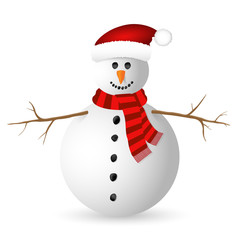 Snowman isolated on white background. Vector illustration.