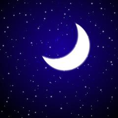Shiny Moon in the night sky