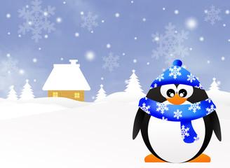 Penguin in winter