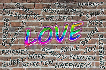 Love word cloud painted with grafitti