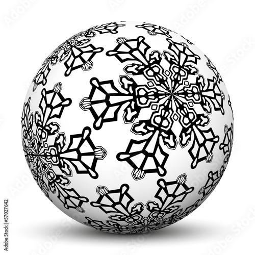 Kugel weihnachtsdeko vorlage schwarzwei eisblume for Weihnachtsdeko bilder gratis