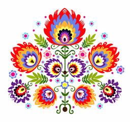 Obraz ludowy wzór - kwiaty - fototapety do salonu