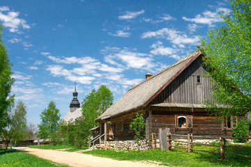 Belarus village of the 18th century wooden in Folk Architecture