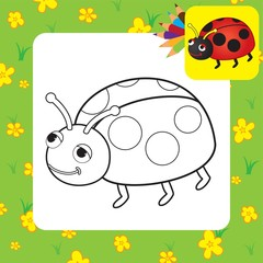 Coloring page. Ladybug. Vector illustration.