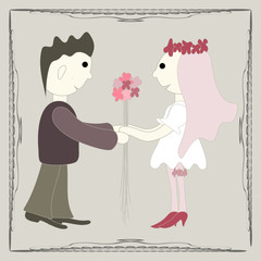 Illustration of newlyweds