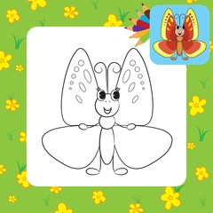 Coloring page. Cute cartoon butterfly.Vector illustration