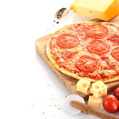 Home baked cheese and tomato pizza