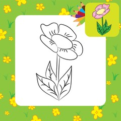 Coloring page. Cartoon flower. Vector illustration