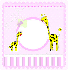 A beautiful card with two giraffes