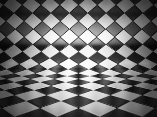 checkered room 3d illustration