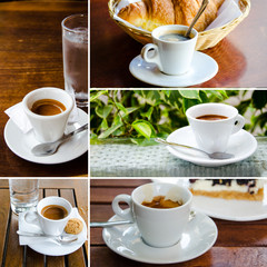 Set of espresso cups with cookies