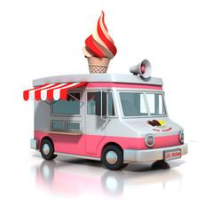 ice cream truck 3d illustration