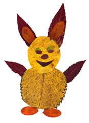rabbit made from the autumn leaves
